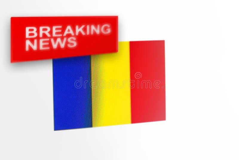 Le drapeau de pays de dernières nouvelles, de la Roumanie et les nouvelles d'inscription image stock