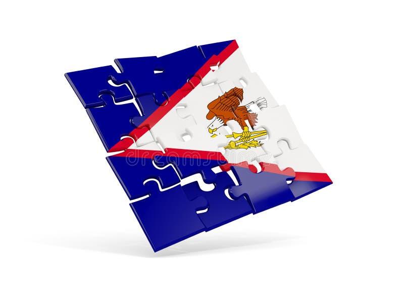 Le drapeau de puzzle des Samoa américaines a isolé sur le blanc illustration libre de droits