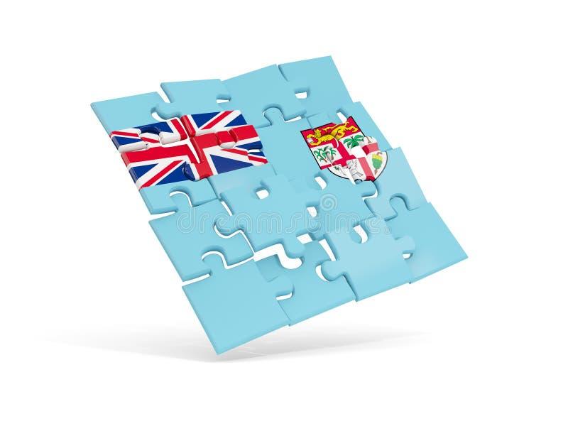 Le drapeau de puzzle du Fiji a isolé sur le blanc illustration libre de droits