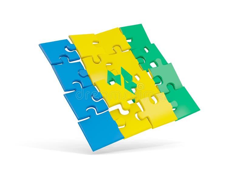 Le drapeau de puzzle du Saint-Vincent-et-les Grenadines a isolé sur le petit morceau illustration libre de droits