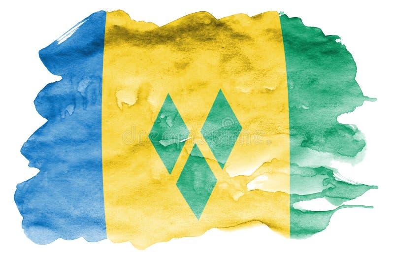 Le drapeau de Saint-Vincent-et-les-Grenadines est dépeint dans le style liquide d'aquarelle d'isolement sur le fond blanc illustration stock