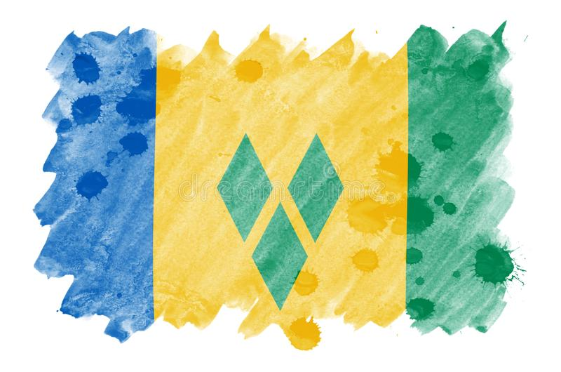 Le drapeau de Saint-Vincent-et-les-Grenadines est dépeint dans le style liquide d'aquarelle d'isolement sur le fond blanc illustration de vecteur