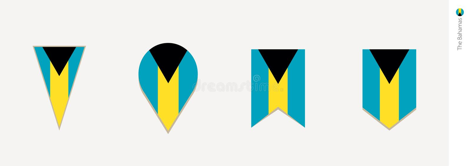 Le drapeau des Bahamas dans la conception verticale, illustration de vecteur illustration stock