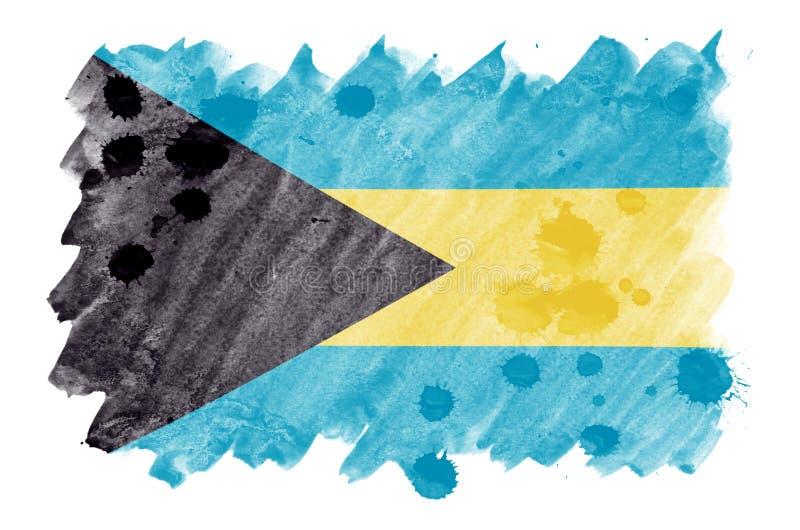 Le drapeau des Bahamas est dépeint dans le style liquide d'aquarelle d'isolement sur le fond blanc illustration stock