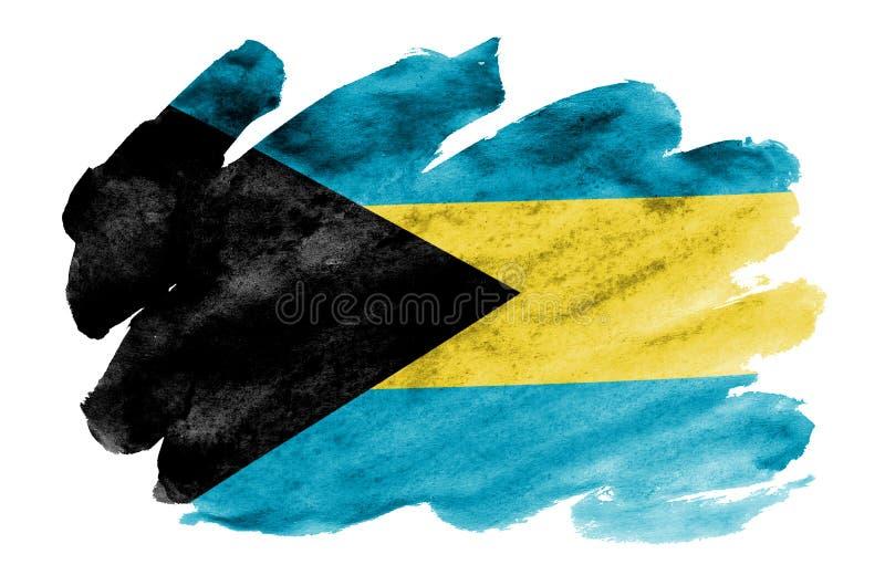 Le drapeau des Bahamas est dépeint dans le style liquide d'aquarelle d'isolement sur le fond blanc illustration libre de droits