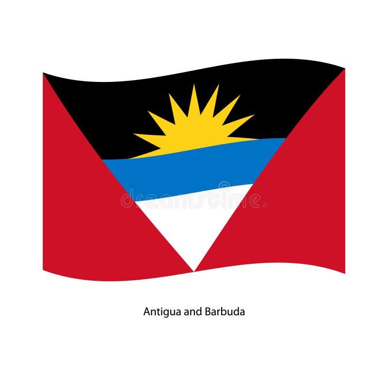 Le drapeau des couleurs officielles de drapeau d'Antigua-et-Barbuda, Antigua-et-Barbuda et proportionnent correctement, illustration stock