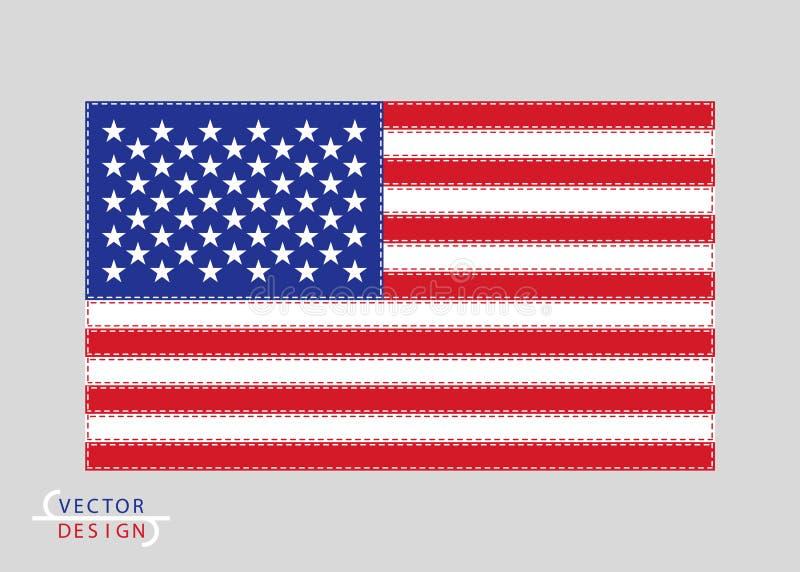 Le drapeau des Etats-Unis d'Amérique est coloré, garni du fil La conception d'art de vecteur, nous colorent drapeau Bleu, rouge,  illustration stock
