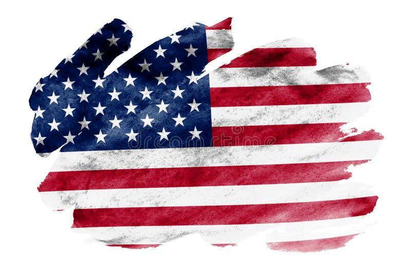 Le drapeau des Etats-Unis d'Amérique est dépeint dans le style liquide d'aquarelle d'isolement sur le fond blanc illustration libre de droits