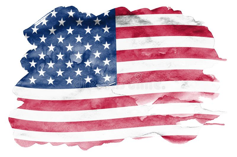 Le drapeau des Etats-Unis d'Amérique est dépeint dans le style liquide d'aquarelle d'isolement sur le fond blanc illustration de vecteur