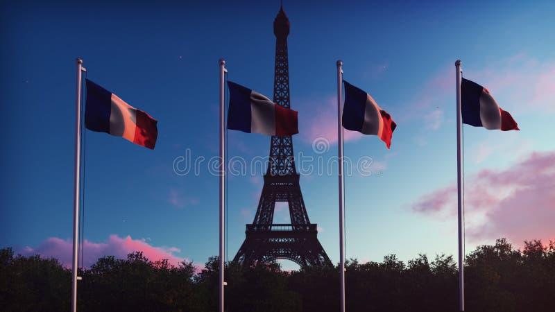 Le drapeau des Frances Beau du drapeau français sur le fond du ciel bleu, des nuages et du Tour Eiffel sur un lever de soleil 3 image stock