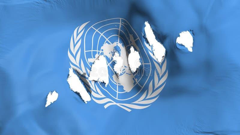 Le drapeau des Nations Unies a perforé, des trous de balle illustration de vecteur