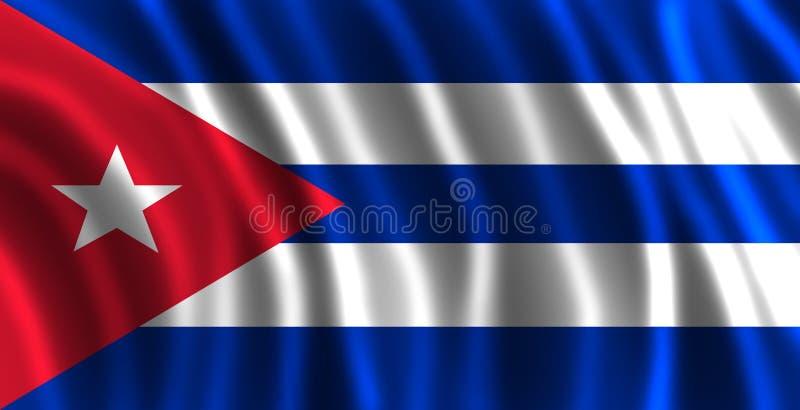 Le drapeau du Cubain avec des vagues illustration de vecteur