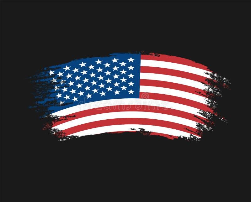 Le drapeau du grunge de la couleur des Etats-Unis d'Amérique, brosse La conception d'art de vecteur, calibre, nous a colorés drap illustration stock