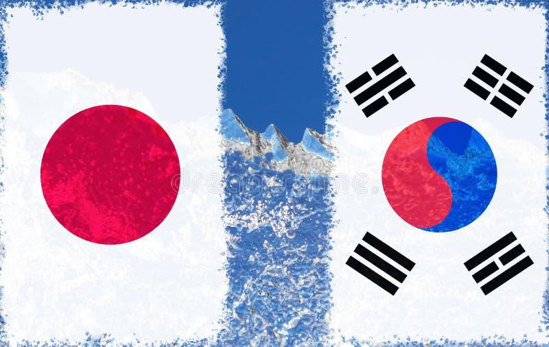 Le drapeau du Japon et la Corée du Sud sont peints à l'extrême inverse du morceau de glace sous forme d'iceberg arctique contre l photos libres de droits