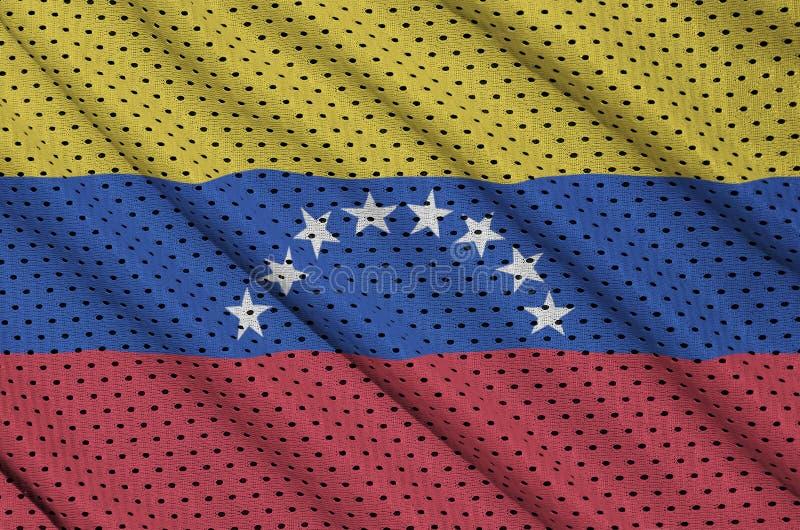 Le drapeau du Venezuela a imprimé sur un fabr en nylon de maille de vêtements de sport de polyester illustration libre de droits