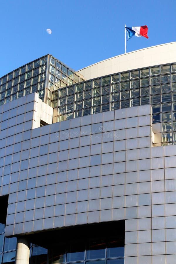 Le drapeau français de bastille d'opéra et la lune placent des Frances de la Bastille Paris photo stock