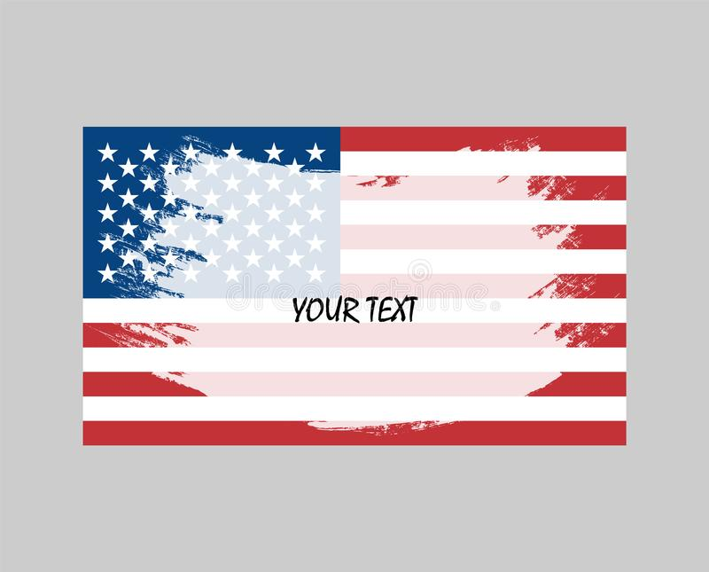 Le drapeau grunge des Etats-Unis d'Amérique est coloré Conception d'art de vecteur, calibre, multicolore nous drapeau texte illustration de vecteur