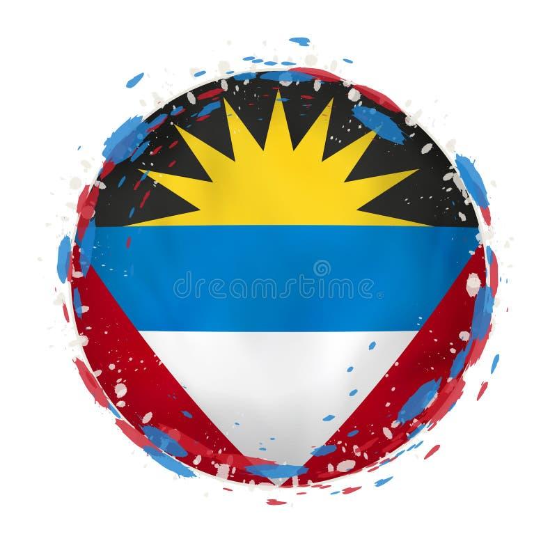 Le drapeau grunge rond de l'Antigua-et-Barbuda avec éclabousse dans la couleur de drapeau illustration stock