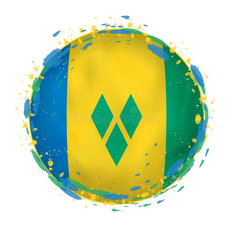 Le drapeau grunge rond de Saint-Vincent-et-les-Grenadines avec éclabousse dans la couleur de drapeau illustration de vecteur