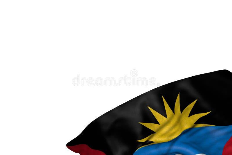 Le drapeau mignon de l'Antigua-et-Barbuda avec de grands plis se situent dans le coin inférieur droit d'isolement sur blanc - n'i illustration libre de droits