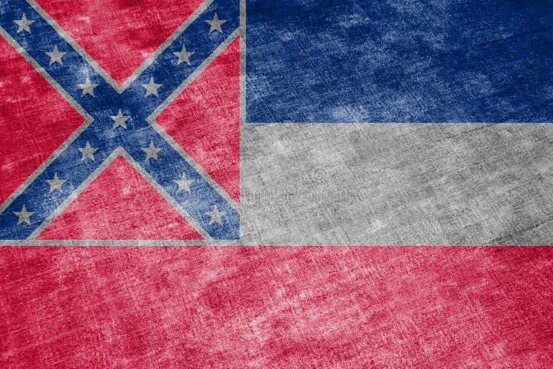 Le drapeau national de l'état d'USA Mississippi dedans contre un chiffon gris de textile le jour de l'indépendance dans différent illustration libre de droits