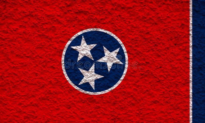 Le drapeau national de l'état d'USA Tennessee dedans contre un mur gris avec la surface pierreuse le jour de l'indépendance en co illustration de vecteur