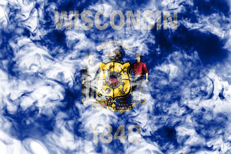 Le drapeau national de l'?tat d'USA le Wisconsin dedans contre une fum?e grise le jour de l'ind?pendance dans diff?rentes couleur photo stock
