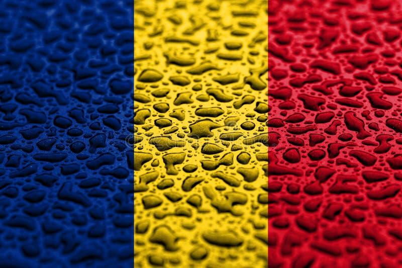 Le drapeau national de la Roumanie a fait des baisses de l'eau Concept de pr?vision de fond photo libre de droits
