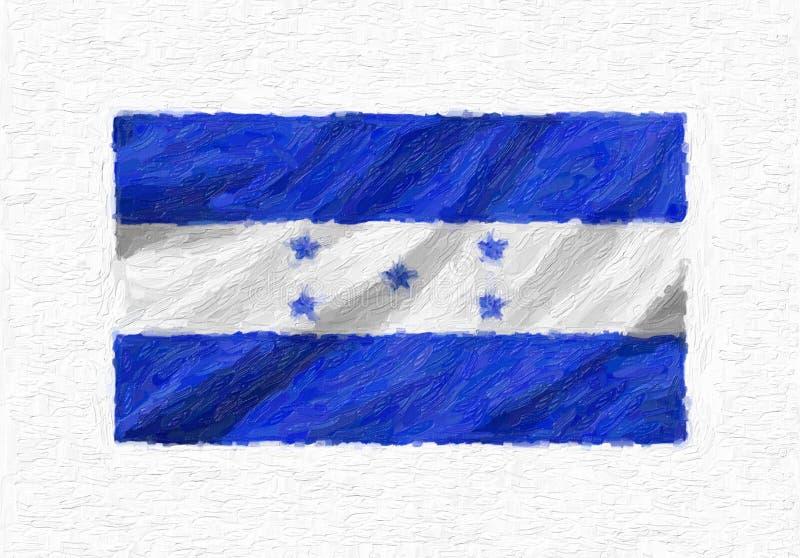 Le drapeau national de ondulation peint à la main du Honduras, peinture à l'huile a isolé o illustration stock