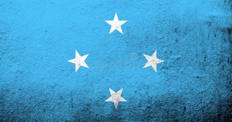 Le drapeau national des Etats fédérés de Micronésie Fond grunge illustration de vecteur