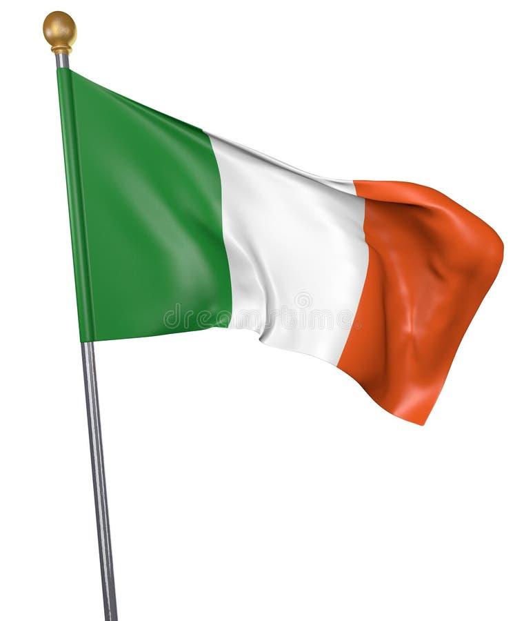 Le drapeau national pour le pays de l'Irlande a isolé sur le fond blanc illustration de vecteur