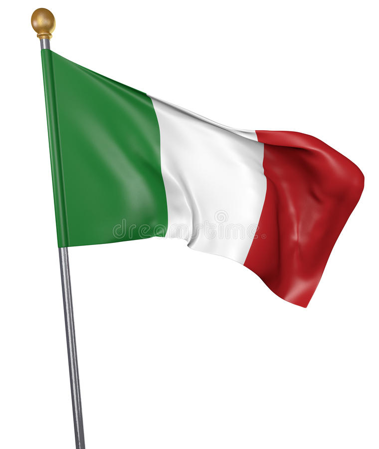 Le drapeau national pour le pays de l'Italie a isolé sur le fond blanc illustration stock