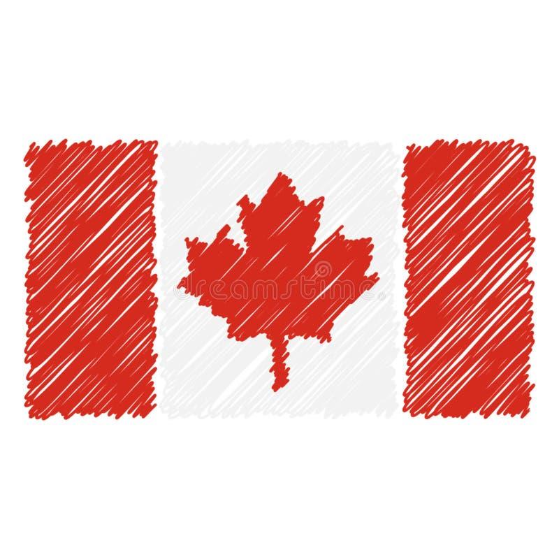 Le drapeau national tiré par la main du Canada a isolé sur un fond blanc Illustration de style de croquis de vecteur illustration libre de droits