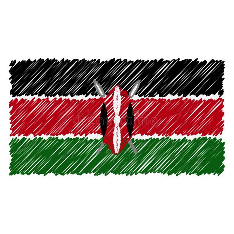 Le drapeau national tiré par la main du Kenya a isolé sur un fond blanc Illustration de style de croquis de vecteur illustration de vecteur