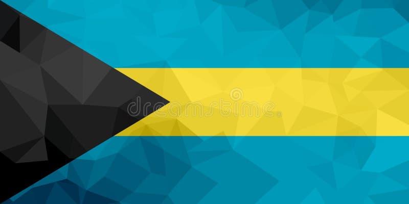 Le drapeau polygonal des Bahamas Fond moderne de mosaïque Dessin géométrique illustration de vecteur