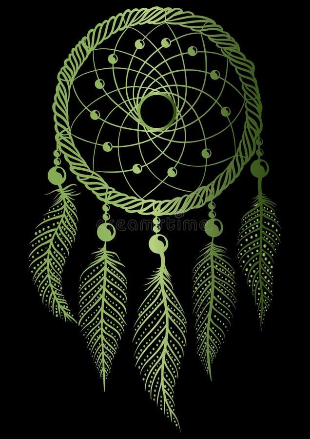 Le dreamcatcher vert illustration libre de droits