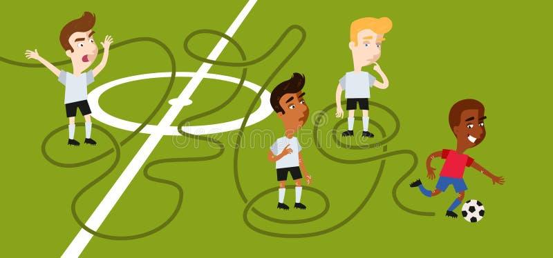 Le dribbleur techniquement doué du football de bande dessinée peut le ` t être dépossédé, se montrant plus malin que plusieurs ad illustration stock
