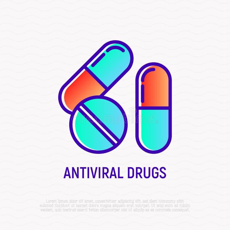 Le droghe antivirali assottigliano la linea icona illustrazione di stock