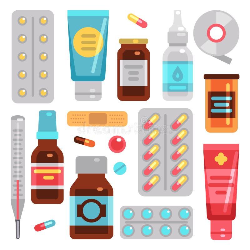 Le droghe della farmacia della medicina, le pillole, le bottiglie del medicinale e l'attrezzatura medica vector le icone piane illustrazione vettoriale