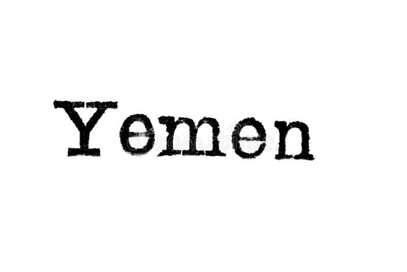 Le ` du Yémen de ` de mot d'une machine à écrire sur le blanc photo libre de droits