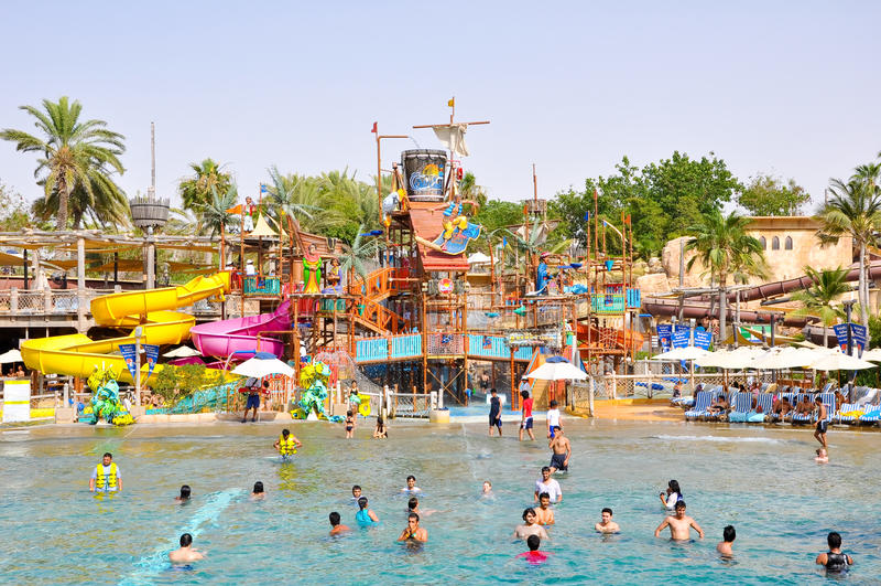 LE DUBAÏ 6 JUIN : Wadi Water Park sauvage en juin 6,2009 à Dubaï. photographie stock libre de droits