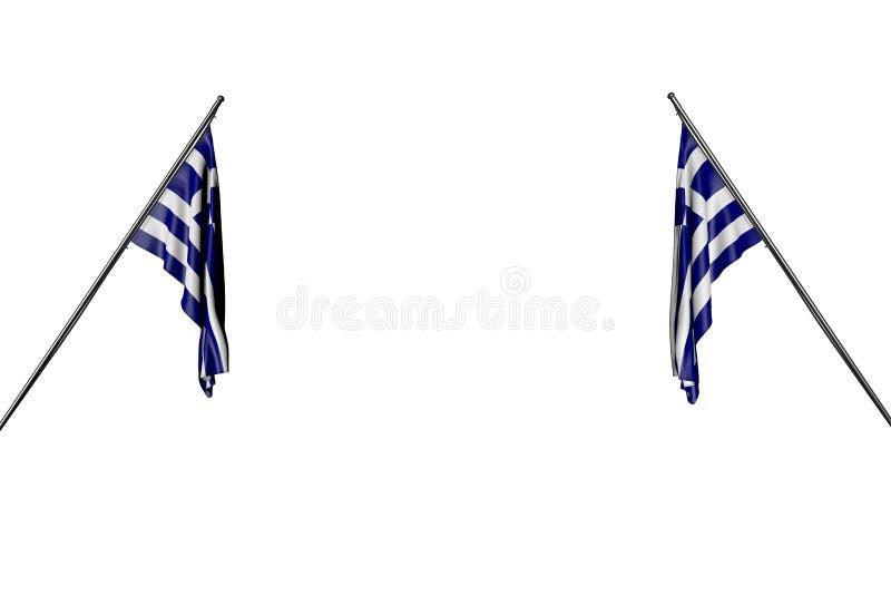Le due bandiere meravigliose della Grecia appende sui pali diagonali da due lati isolati su bianco- tutta l'illustrazione della b illustrazione di stock