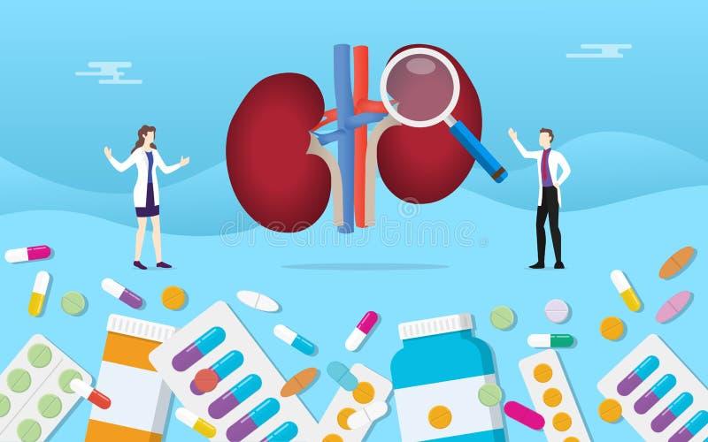 Le due pillole umane di salute della medicina del rene drogano il trattamento della capsula con l'analisi di medico - illustrazione di stock