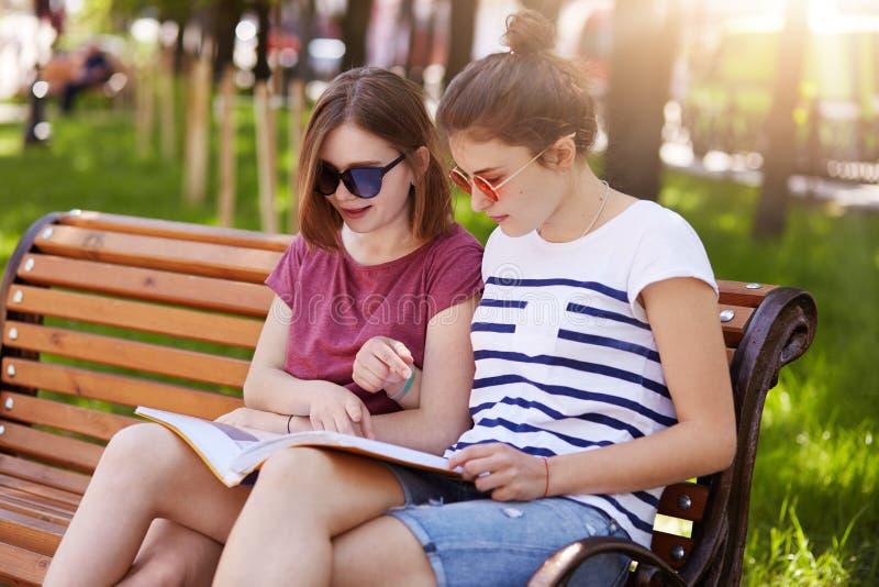 Le due ragazze premurose indossano l'abbigliamento casual, si siedono sul banco di legno in parco e parlano delle notizie descrit immagine stock libera da diritti