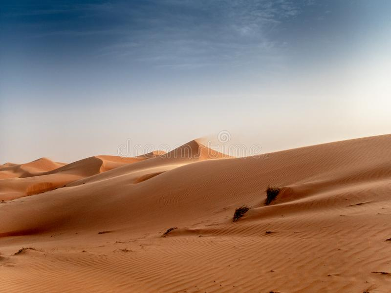 Le dune del Wahiba insabbia il deserto nell'Oman al tramonto durante la a immagini stock libere da diritti