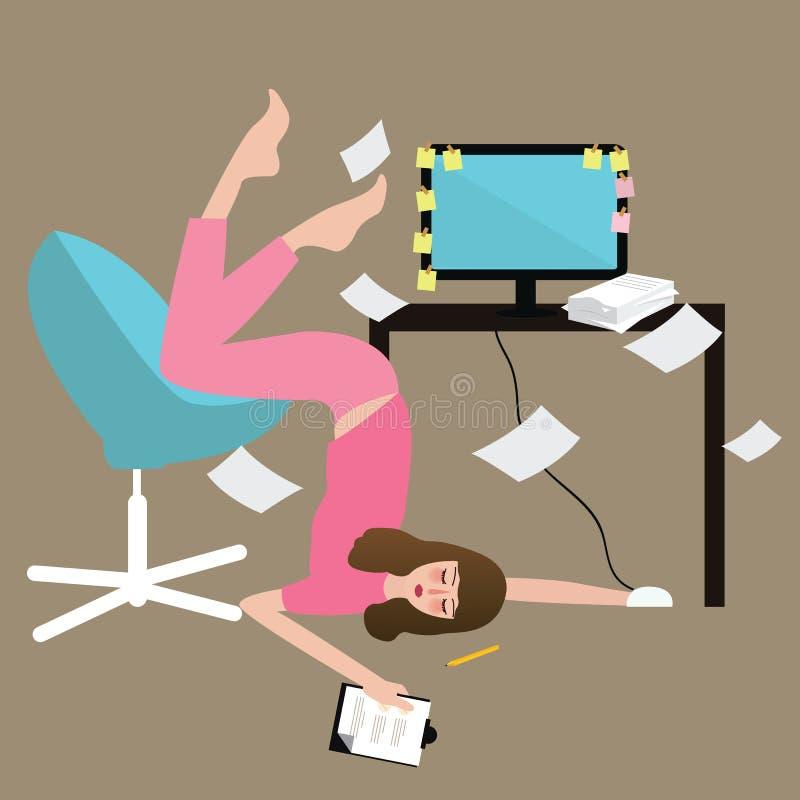 Le dur labeur de personnes de femme a fatigué complètement du surmenage de papier épuisé dans l'ordinateur avant illustration stock