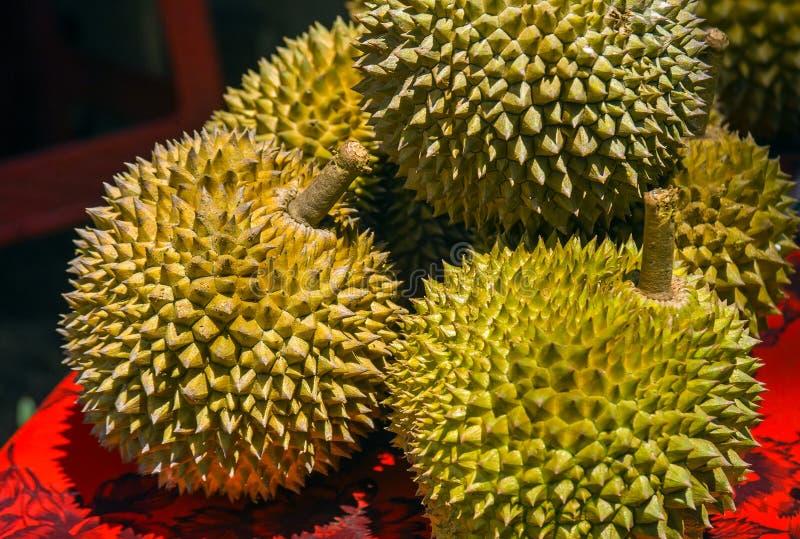 Le durian est un fruit asiatique doux et savoureux célèbre typique de Singapour Malaisie et l'Indonésie avec les transitoires ou  photo libre de droits