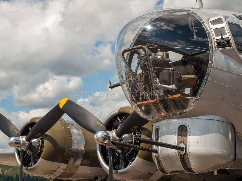 Le eliche e le pistole del bombardiere della seconda guerra mondiale B17 fotografie stock