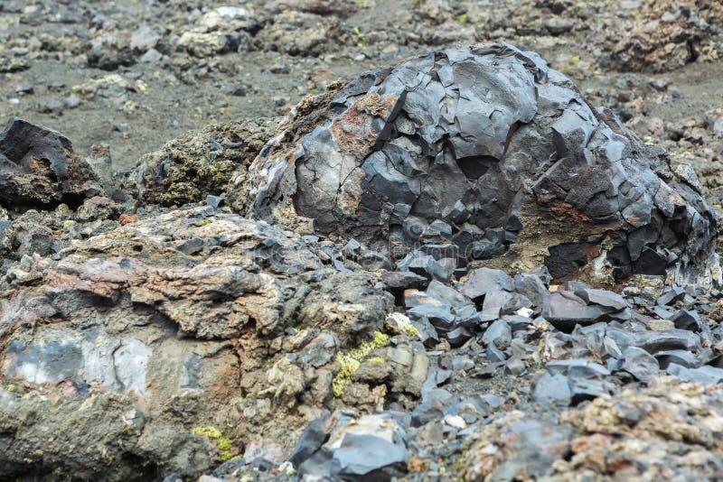 Le emissioni vulcaniche congelate dell'innovazione del nord grande Tolbachik fendono l'eruzione 1975 fotografia stock libera da diritti
