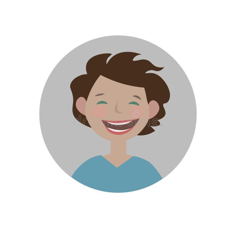 Le emoticon Lycklig emoji Skratta smiley gladlynt uttryck stock illustrationer